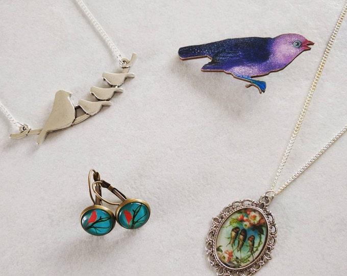 Bird gift set, bird necklace, bird brooch, bird earrings, gift box
