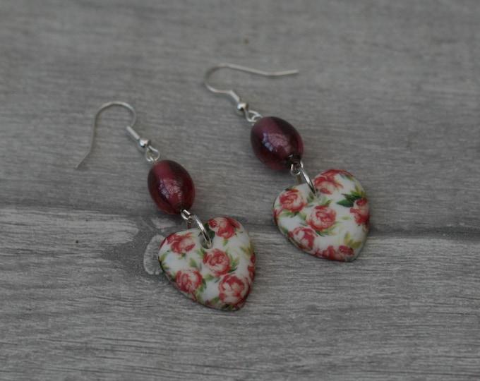 Pink Flower Statement Earrings, Floral Jewelry