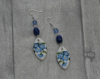 Blue Flower Statement Earrings, Floral Jewelry