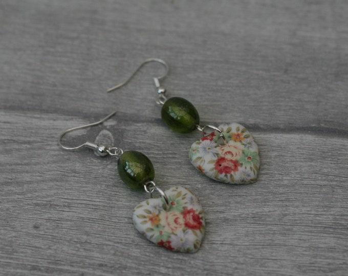 Green Flower Statement Earrings, Floral Jewelry
