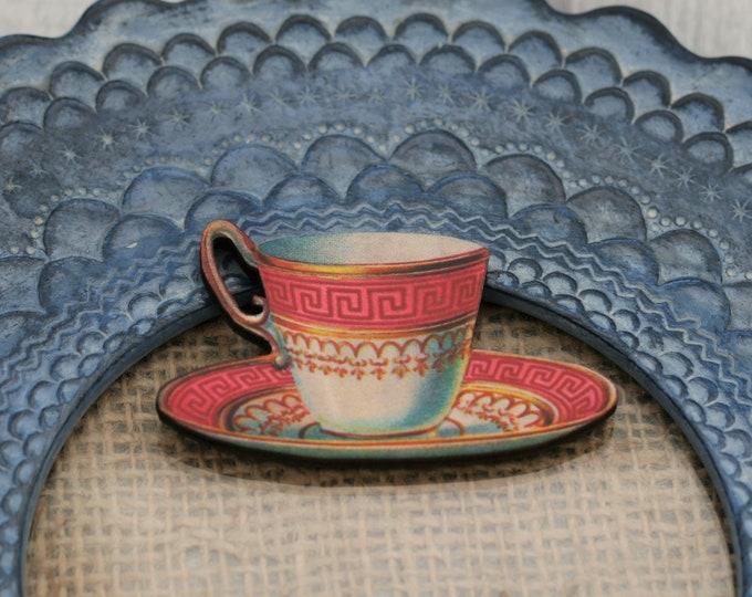 Red Teacup Brooch, Wooden Afternoon Tea Brooch, Teacup Badge, Wood Jewelry