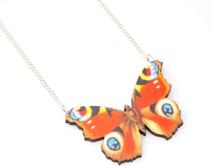 Peacock Butterfly Necklace, Wood Pendant, Illustration Jewelry, Woodland, Animal Necklace, Wood Jewelry