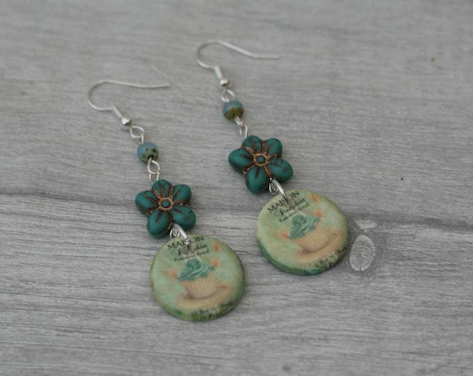 Green Cake Statement Earrings, Food Jewelry