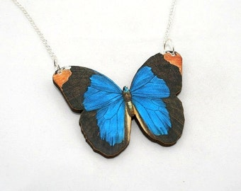 Blue Butterfly Necklace, Wood Pendant, Illustration Jewelry, Woodland, Animal Necklace, Wood Jewelry