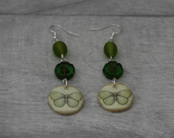 Green Butterfly Statement Earrings, Insect Jewelry