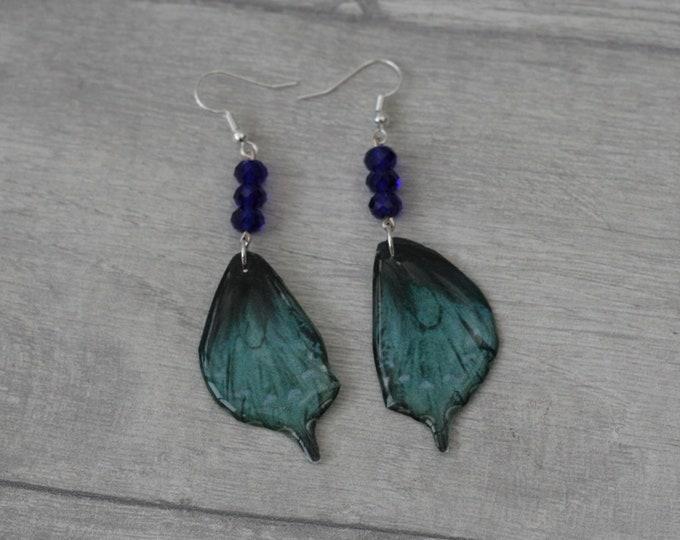 Blue and Black Butterfly Earrings, Butterfly Illustration, Dangle Earrings
