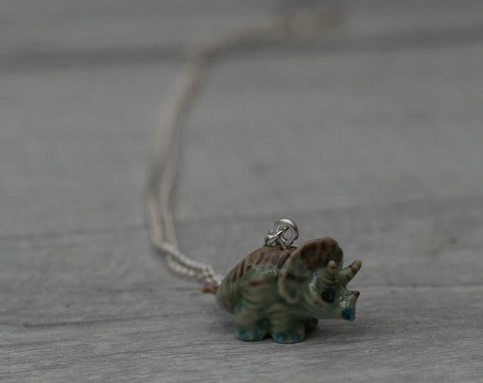 Tiny Porcelain Dinosaur Necklace, Animal Necklace, Triceratops Necklace