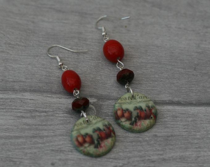 Red Bird Statement Earrings, Animal Jewelry