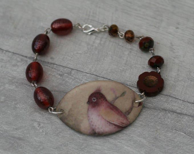 Dark Pink Bird  Bracelet, Bird Bracelet, Bird Bar Bracelet