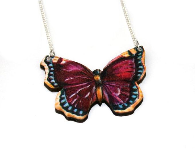 Purple Butterfly Necklace, Wood Pendant, Illustration Jewelry, Butterfly Necklace, Woodland, Animal Necklace, Wood Jewelry
