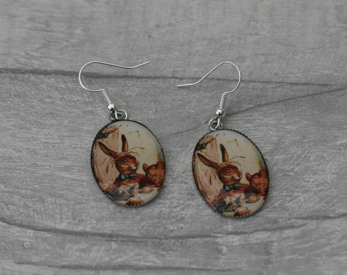 March Hare Earrings, Alice in Wonderland Illustration, Dangle Earrings, Alice In Wonderland