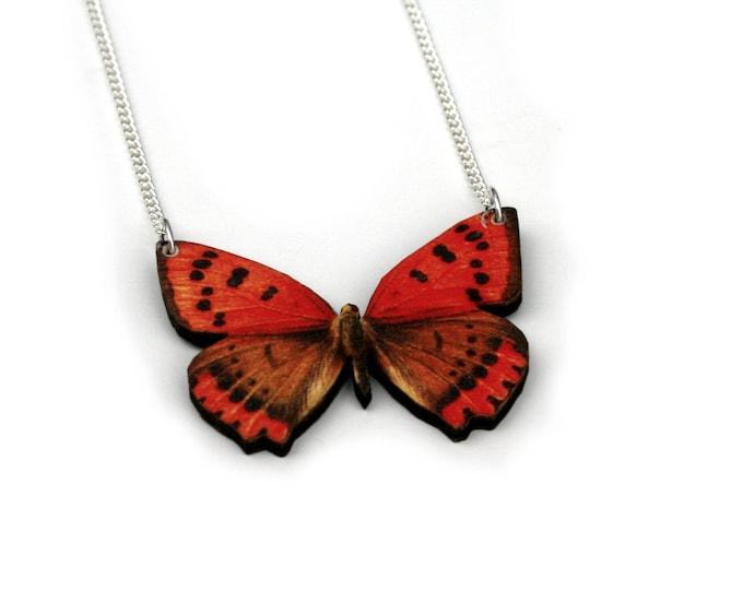 Orange Butterfly Necklace, Wood Pendant, Illustration Jewelry, Woodland, Animal Necklace, Wood Jewelry