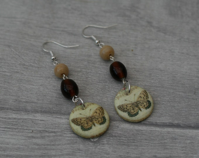 Brown Butterfly Statement Earrings, Insect Jewelry