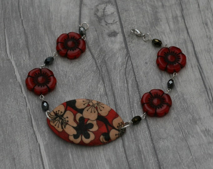Black and Red Flower Bracelet, Flower Bracelet, Flower Bar Bracelet