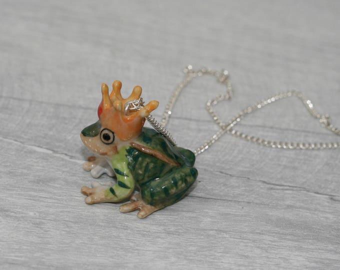 Porcelain Frog Prince Necklace, Animal Necklace