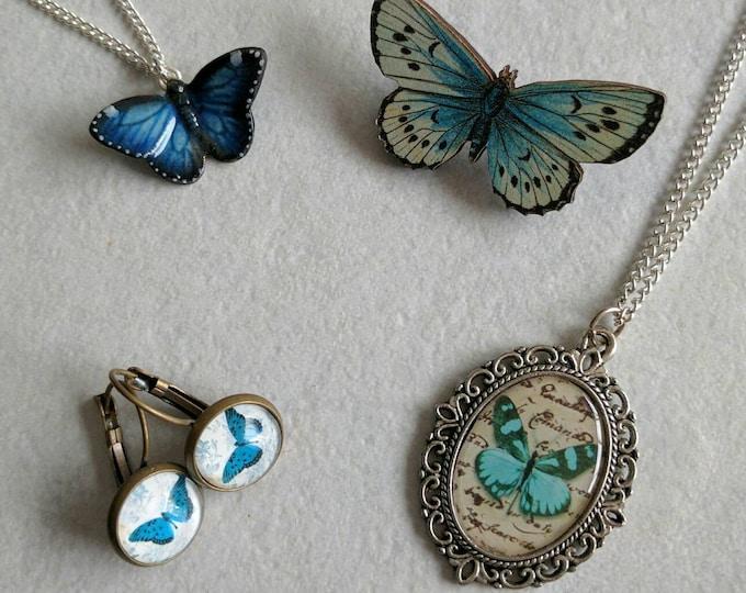 Butterfly gift set, butterfly necklace, butterfly brooch, butterfly earrings