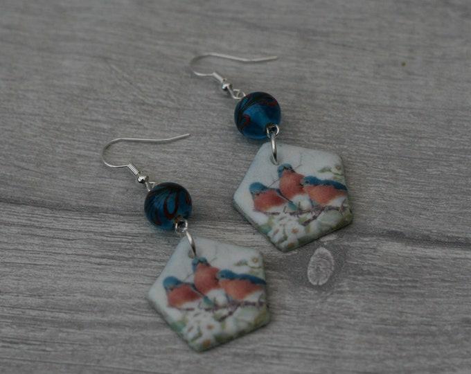 Blue Bird Statement Earrings, Animal Jewelry