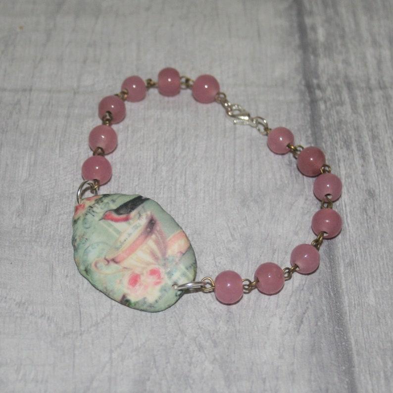 Bird Bracelet Pink Bird /& Teacup Bracelet Bird Bar Bracelet