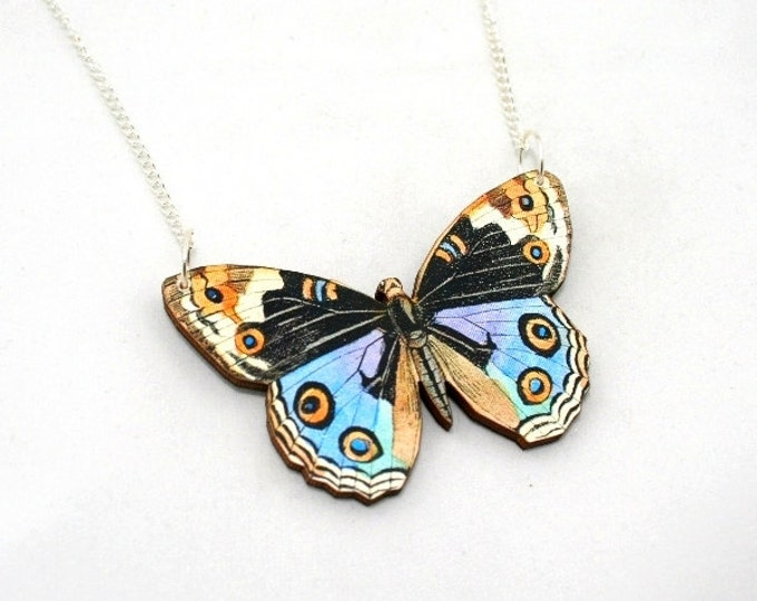 Blue Pansy Butterfly Necklace, Wood Pendant, Illustration Jewelry, Woodland, Animal Necklace, Wood Jewelry
