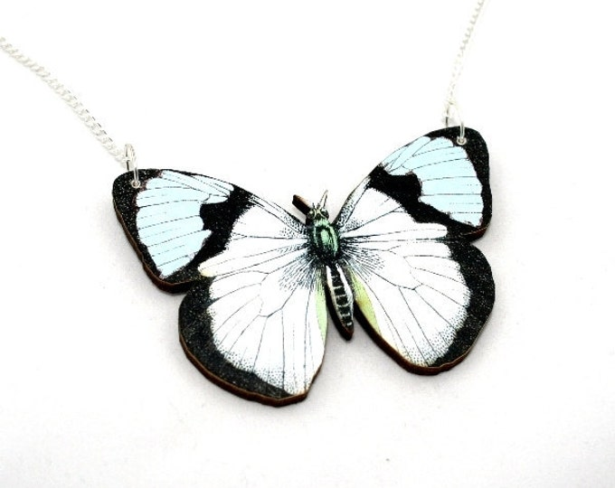White Butterfly Necklace, Wooden Pendant, Moth Necklace, Insect Jewelry, Blue Butterfly Illustration, Woodland, Animal Necklace