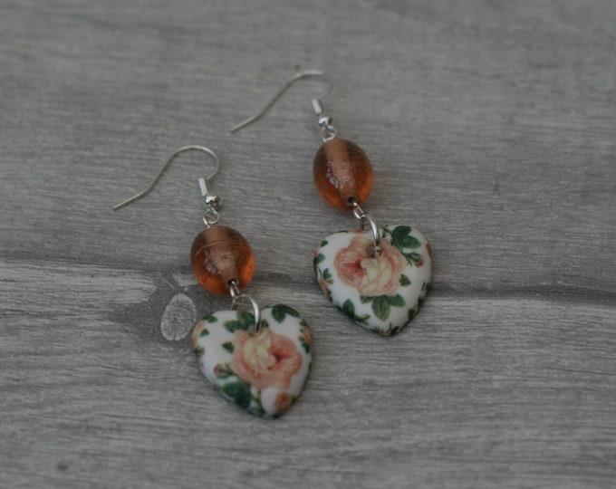Peach Flower Statement Earrings, Floral Jewelry