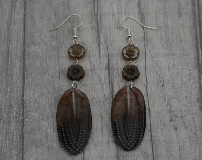 Brown Feather Earrings, Feather Illustration, Dangle Earrings