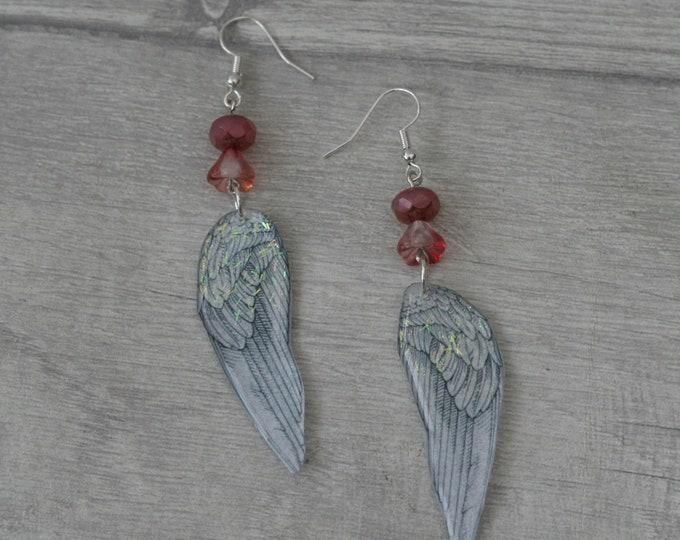 Angel/Fairy Wing Earrings, Wing Illustration, Dangle Earrings, Pink Jewelry