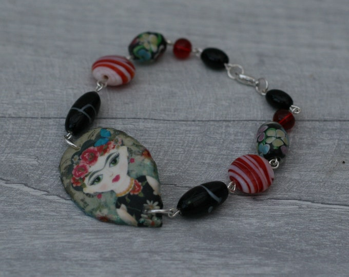 Black and Red Frida Bracelet, Flower Bracelet, Flower Bar Bracelet