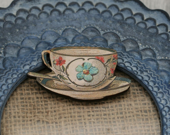 Floral Teacup Brooch, Wooden Afternoon Tea Brooch, Teacup Badge, Wood Jewelry
