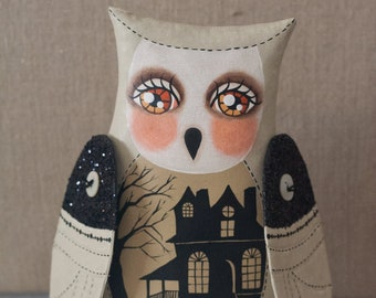 Hand Painted Button Jointed Halloween Owl Woodland Animal Haunted House Folk Art Doll - Contemporary One of a Kind Soft Sculpture