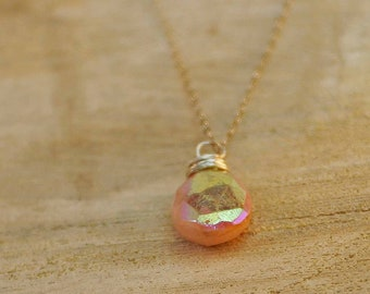 October Birthstone Necklace Pink Opal Necklace Pink Opal Briolette Necklace October Necklace Birthstone Jewelry Birthday Necklace Gift