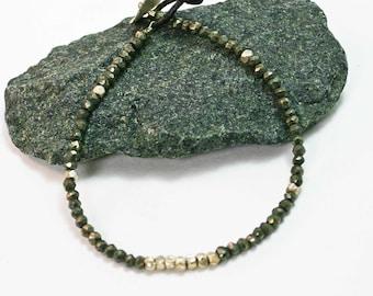 Pyrite and Sterling Silver Bracelet Pyrite Bracelet Faceted Gemstone Bracelet Delicate Bracelet Minimalist Bracelet Sundance Jewelry