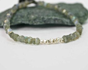 Labradorite and Sterling Silver Bracelet Labradorite Bracelet Faceted Gemstone Bracelet Delicate Bracelet Minimalist Bracelet Sundance