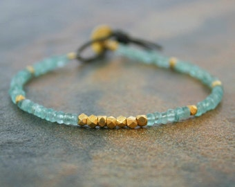 Apatite and Vermeil Bracelet Turquoise and Gold Bracelet Stone Bracelet Sundance Jewelry