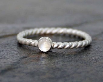 Sterling Twist Moonstone Ring, Stackable Stone Ring, June Birthstone Ring, Sterling Silver Ring, Dainty Ring, Rope Ring, Twisted Ring