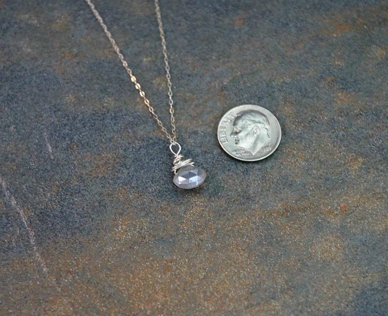 Birthday Necklace Birthstone Jewelry Grey Moonstone Briolette Necklace Grey Moonstone Necklace June Birthstone Necklace June Jewelry