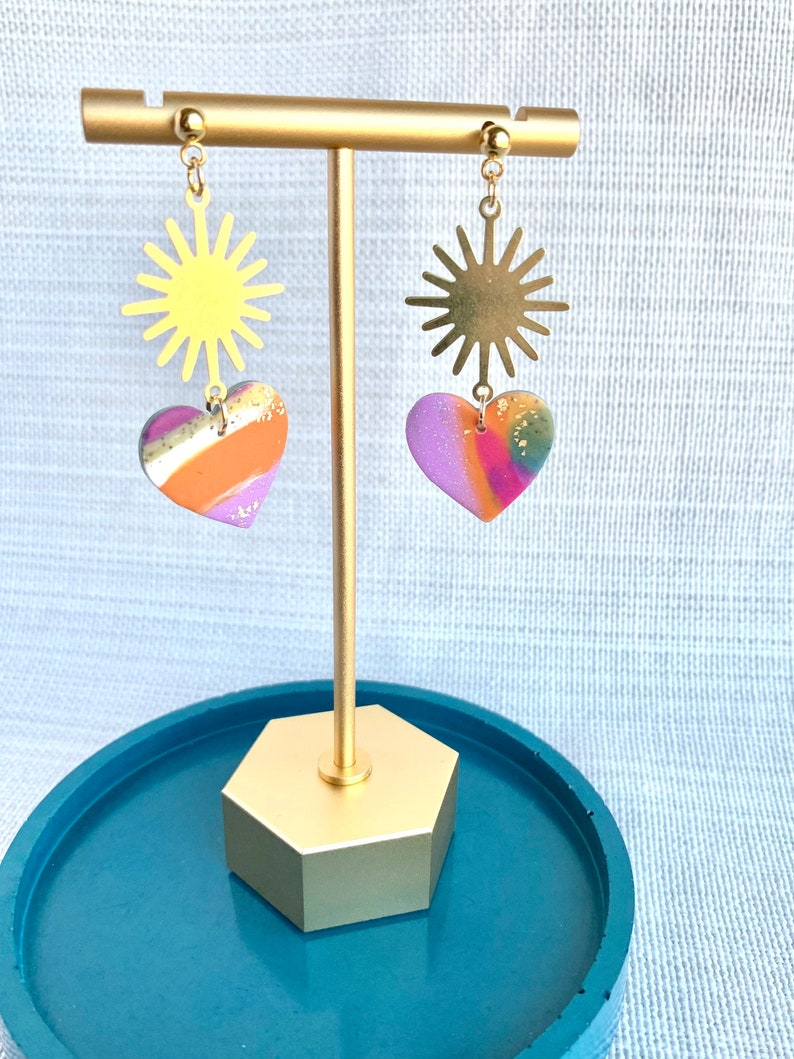 Polymer Clay Earrings Statement Earrings MARY in Multi Color and Gold Sunbursts