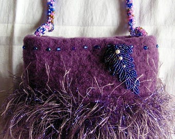 Lavender Bag with Beaded Handle Evening Bag for Wedding, Easter, Mother of the Bride