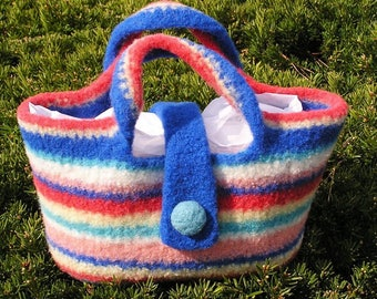 Rainbow Striped Felted Tote in Bright Colors ........from Designs by Fredericka
