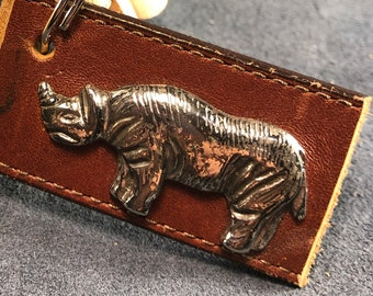 Reclaimed leather keychain with rhino embellishment