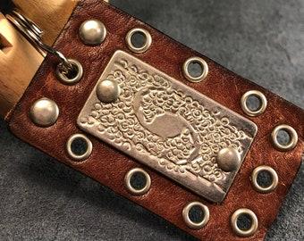Brown leather decorative keychain