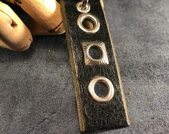 Black leather grommet keychain