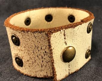 White distressed leather cuff