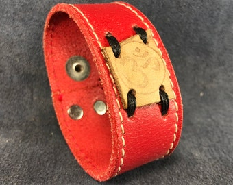 OM red leather cuff
