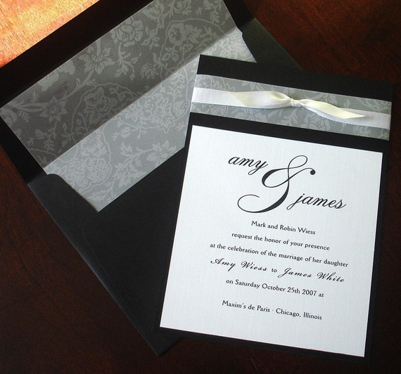 Wedding Invitation Envelopes Canada: Black White Vellum Bow Wedding Invitation Lined Envelope