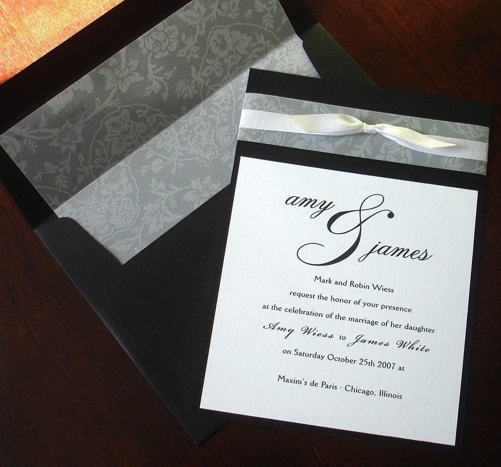 Traditional Engraved Wedding Invitations: Black White Vellum Bow Wedding Invitation Lined Envelope