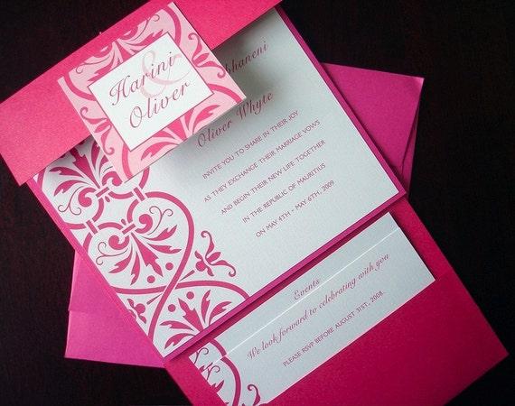 Koniglich Vintage Fuchsia Hochzeit Einladungskarte Rosa Platz Etsy