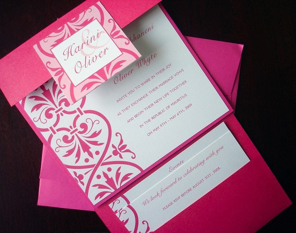 Wedding Pocketfold Invitations: Fuchsia Pocketfold Wedding Invitation Suite Romantic