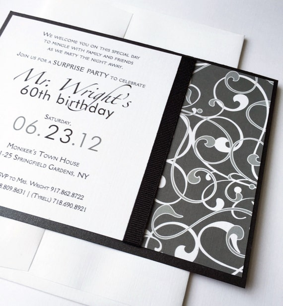Male Custom 60th Birthday Party Invitations Modern Masculine