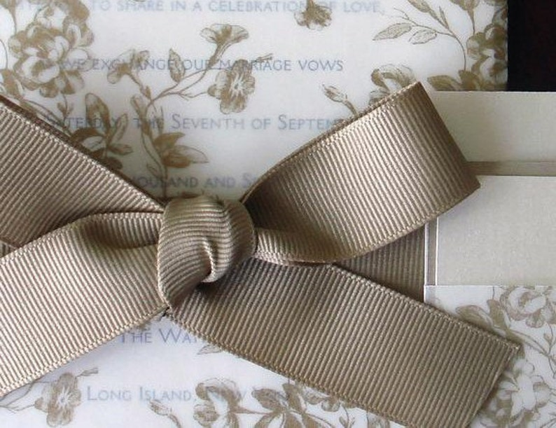 translucent Romantic wedding invitations cream and gold wedding invitation ribbon Vellum Rustic floral Wedding Invitation
